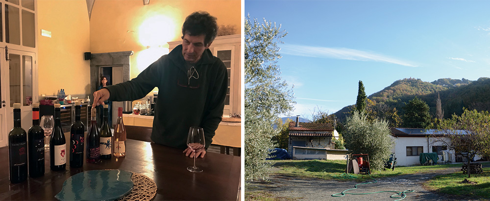 カステルデルピアーノのオーナーと山間の小さなワイナリー