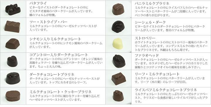 チョコレートの種類は全部で12種類。どのチョコレートもカカオの濃厚でクリーミーな味わいと、中身のフレーバーがベストマッチしてお口の中でとろけます。