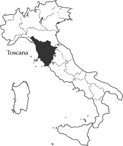 トスカーナ州の地図