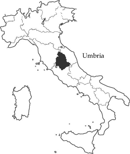 ウンブリア州の地図