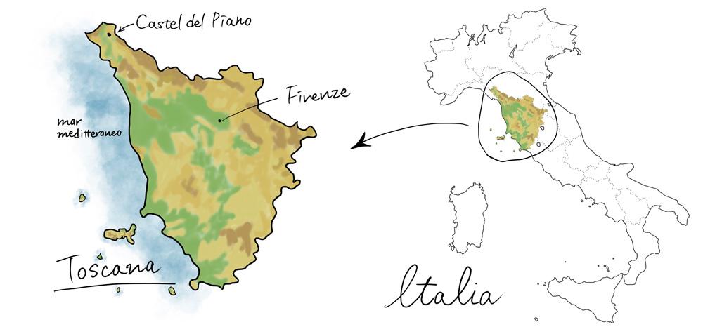 カステルデルピアーノの地図