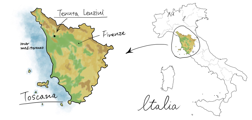 テヌータレンツィーニの地図