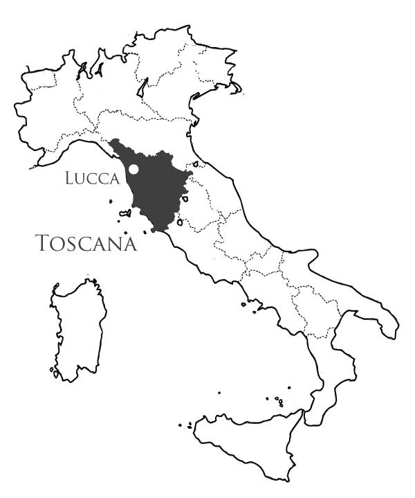 トスカーナ、ルッカの地図